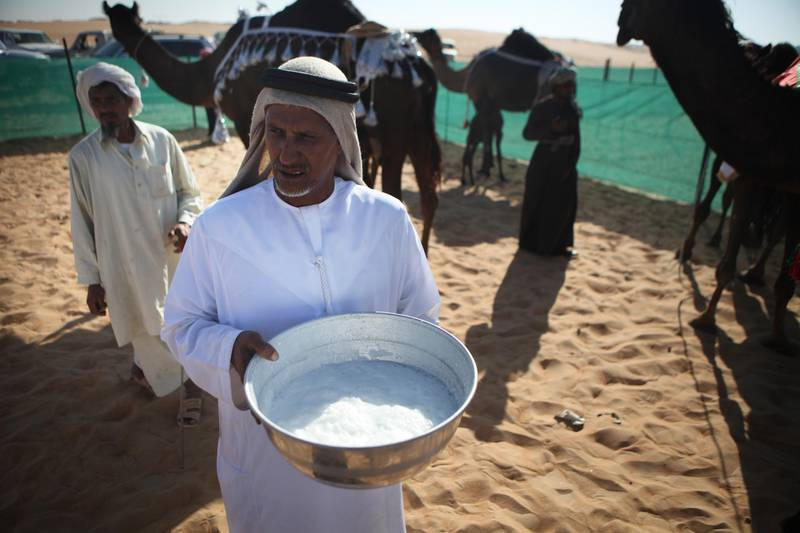 United Arab Emirates - Madinat Zayed - December 13th, 2010:  Fresh camel milk is kept in a large bowl for people to enjoy at a milking competition at the Camel Festival in Madinat Zayed.  (Galen Clarke/The National)