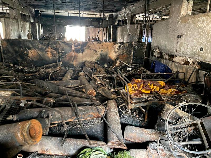 The intensive care unit at the Ibn al-Khatib hospital is damaged following a fire that broke out last Saturday evening killing over 80 people and injuring over 100, in Baghdad, Iraq, Tuesday, April 27, 2021. Medical staff who witnessed the first moments of a Baghdad hospital fire described horrific scenes: deafening screams, a patient who jumped to his death to escape the inferno and relatives who died because they refused to abandon coronavirus patients tethered to ventilators. (AP Photo/Khalid Mohammed)