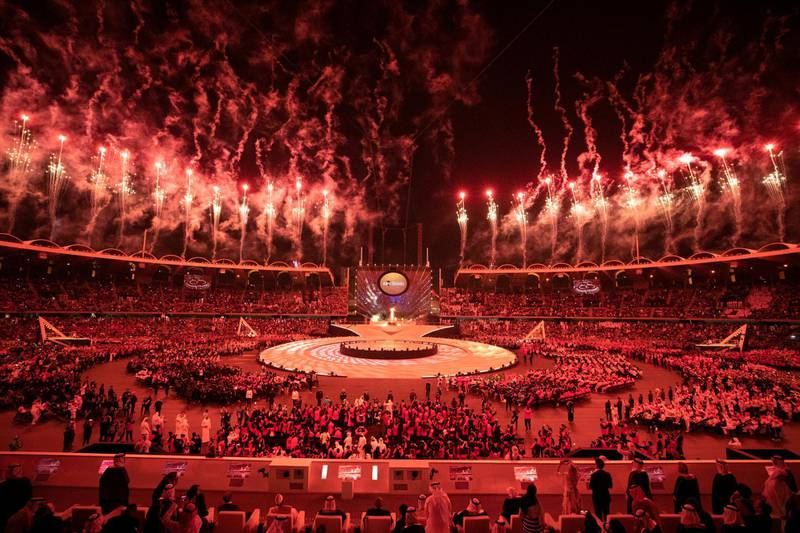 ABU DHABI, UNITED ARAB EMIRATES - March 14, 2019: A fireworks display marks the end of the opening ceremony of the Special Olympics World Games Abu Dhabi 2019, at Zayed Sports City.