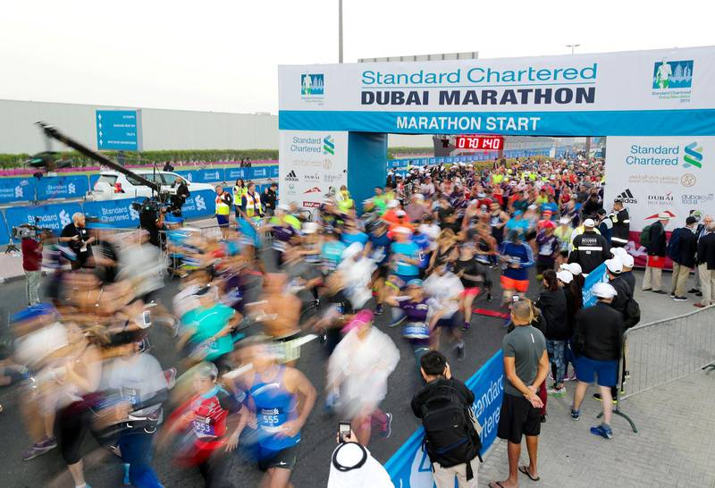 Dubai, United Arab Emirates - January 25, 2019: The start of the Standard Chartered Dubai Marathon 2019. Friday, January 25th, 2019 at Jumeirah, Dubai. Chris Whiteoak/The National