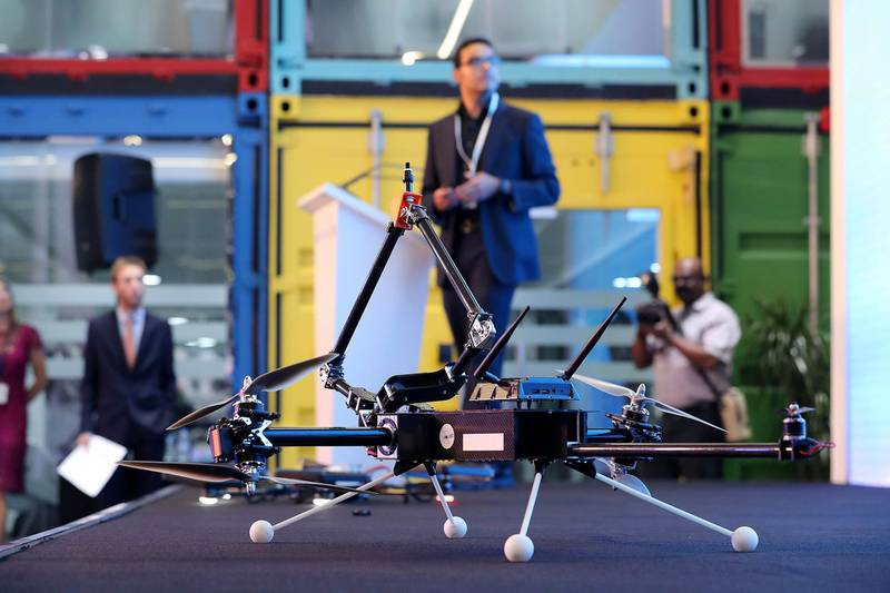 ABU DHABI , UNITED ARAB EMIRATES , MAY 6 – 2018 :- Mina Kamel ( center ) from Voliro explaining about the drone during the Drone Technology Start Up Contest held at Krypto Labs in Abu Dhabi.  ( Pawan Singh / The National )  For News.