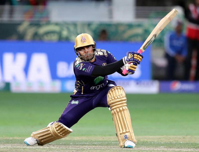 Dubai, United Arab Emirates - February 17, 2019: Quetta's Umar Akmal bats during the game between Islamabad United and Quetta Gladiators in the Pakistan Super League. Sunday the 17th of February 2019 at The International Cricket Stadium, Dubai. Chris Whiteoak / The National