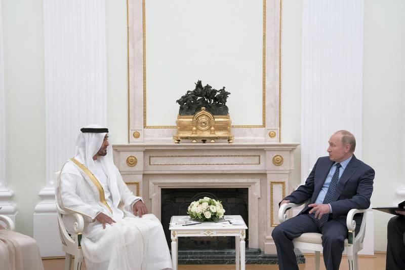 MOSCOW, RUSSIA - June 01, 2018: HH Sheikh Mohamed bin Zayed Al Nahyan, Crown Prince of Abu Dhabi and Deputy Supreme Commander of the UAE Armed Forces (L), meets HE Vladimir Putin Vladimirovich, President of Russia (R), at the Kremlin Palace.  ( Mohamed Al Hammadi / Crown Prince Court - Abu Dhabi ) ---