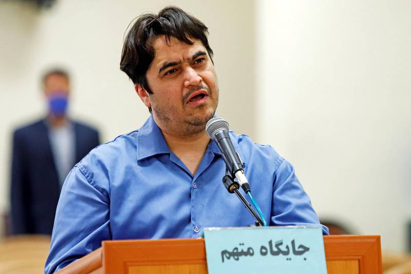 Ruhollah Zam, a dissident journalist who was captured in what Tehran calls an intelligence operation, speaks during his trial in Tehran, Iran June 2, 2020. Picture taken June 2, 2020. Mizan News Agency/WANA (West Asia News Agency) via REUTERS ATTENTION EDITORS - THIS IMAGE HAS BEEN SUPPLIED BY A THIRD PARTY.