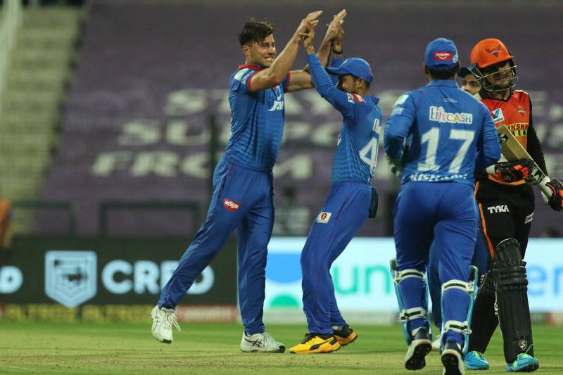 Delhi Capitals players celebrates the wicket of Priyam Garg of Sunrisers Hyderabad  during the qualifier 2 match of season 13 of the Dream 11 Indian Premier League (IPL) between the Delhi Capitals and the Sunrisers Hyderabad at the Sheikh Zayed Stadium, Abu Dhabi in the United Arab Emirates on the 8th November 2020.  Photo by: Vipin Pawar  / Sportzpics for BCCI