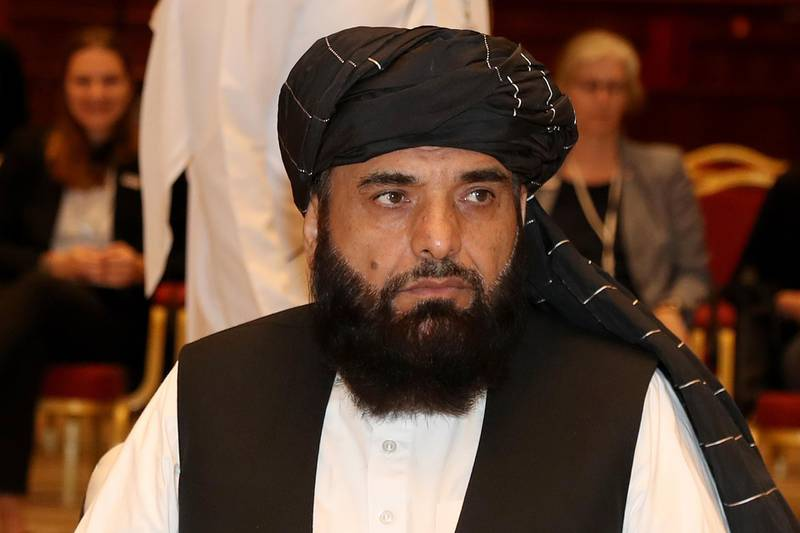 """Suhail Shaheen, spokesman for the Taliban in Qatar, attends the Intra Afghan Dialogue talks in the Qatari capital Doha on July 7, 2019. - Dozens of powerful Afghans met with a Taliban delegation on July 7, amid separate talks between the US and the insurgents seeking to end 18 years of war. The separate intra-Afghan talks are attended by around 60 delegates, including political figures, women and other Afghan stakeholders. The Taliban, who have steadfastly refused to negotiate with the government of President Ashraf Ghani, have stressed that those attending are only doing so in a """"personal capacity"""". (Photo by KARIM JAAFAR / AFP)"""