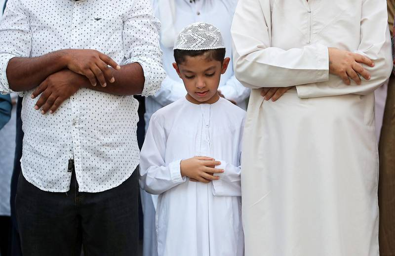 DUBAI, UNITED ARAB EMIRATES, August 21 – 2018 :- Ahmed Alrabie during the Eid Al Adha prayers at the Jumeirah Mosque in Dubai. ( Pawan Singh / The National )  For News. Story by Nawal