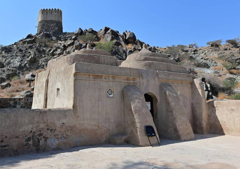 A photo taken on October 7, 2020 shows the al-Bidya Mosque in Fujairah, considered the oldest know mosque in the United Arab Emirates. (Photo by GIUSEPPE CACACE / AFP)