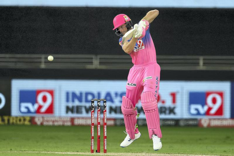 Jos Buttler  of Rajasthan Royals during match 12 of season 13 of the Dream 11 Indian Premier League (IPL) between the Rajasthan Royals and the Kolkata Knight Riders held at the Dubai International Cricket Stadium, Dubai in the United Arab Emirates on the 30th September 2020.  Photo by: Ron Gaunt  / Sportzpics for BCCI