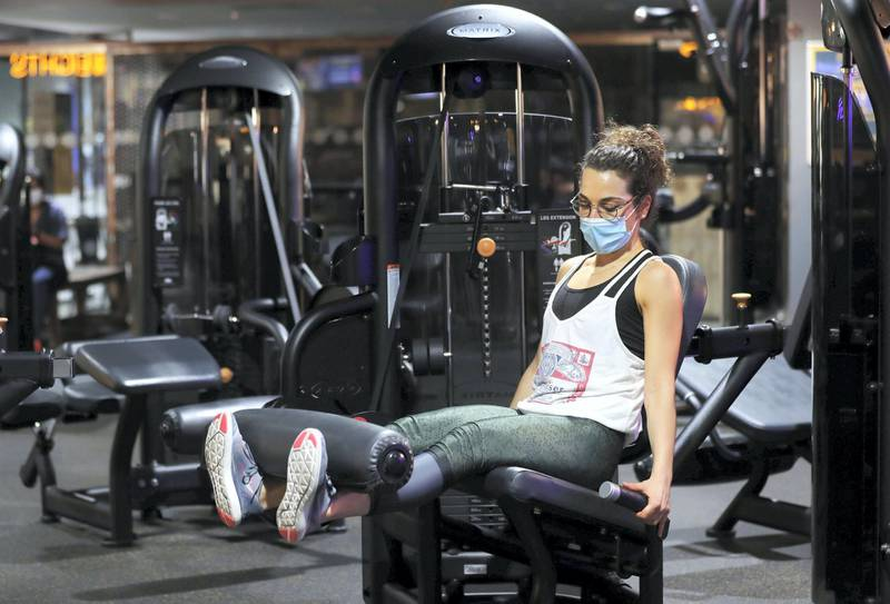 Dubai, United Arab Emirates - Reporter: Kelly Clark: News. Francesca Fattoruso does some weights at GymNation in Al Quoz as gyms across Dubai start to open. Wednesday, May 27th, 2020. Dubai. Chris Whiteoak / The National