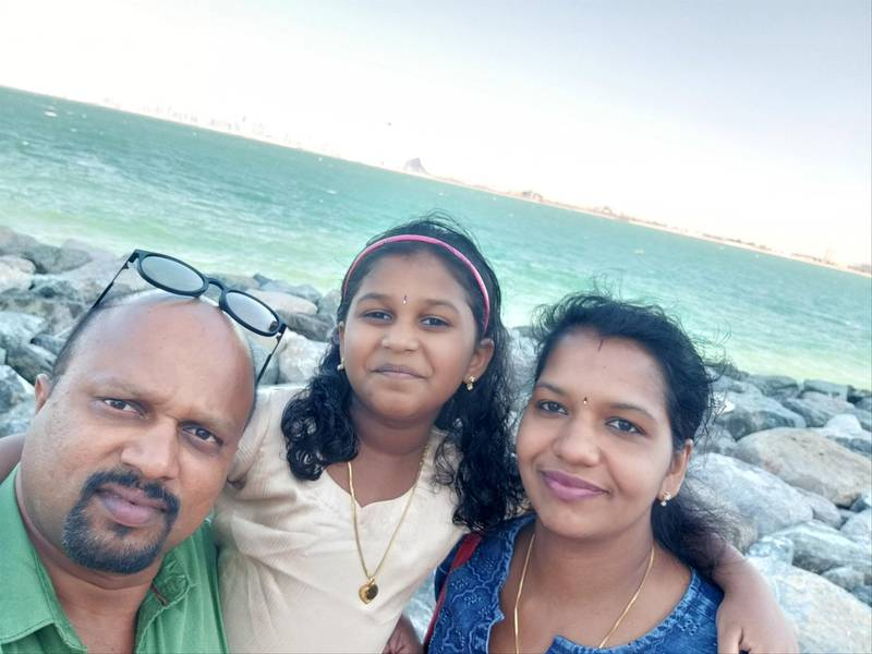 Soumya Devi, her husband Hari Prasad and their elder daughter Bhadra before Soumya and her daughter tested positive for Covid-19. Courtesy: Hari Prasad