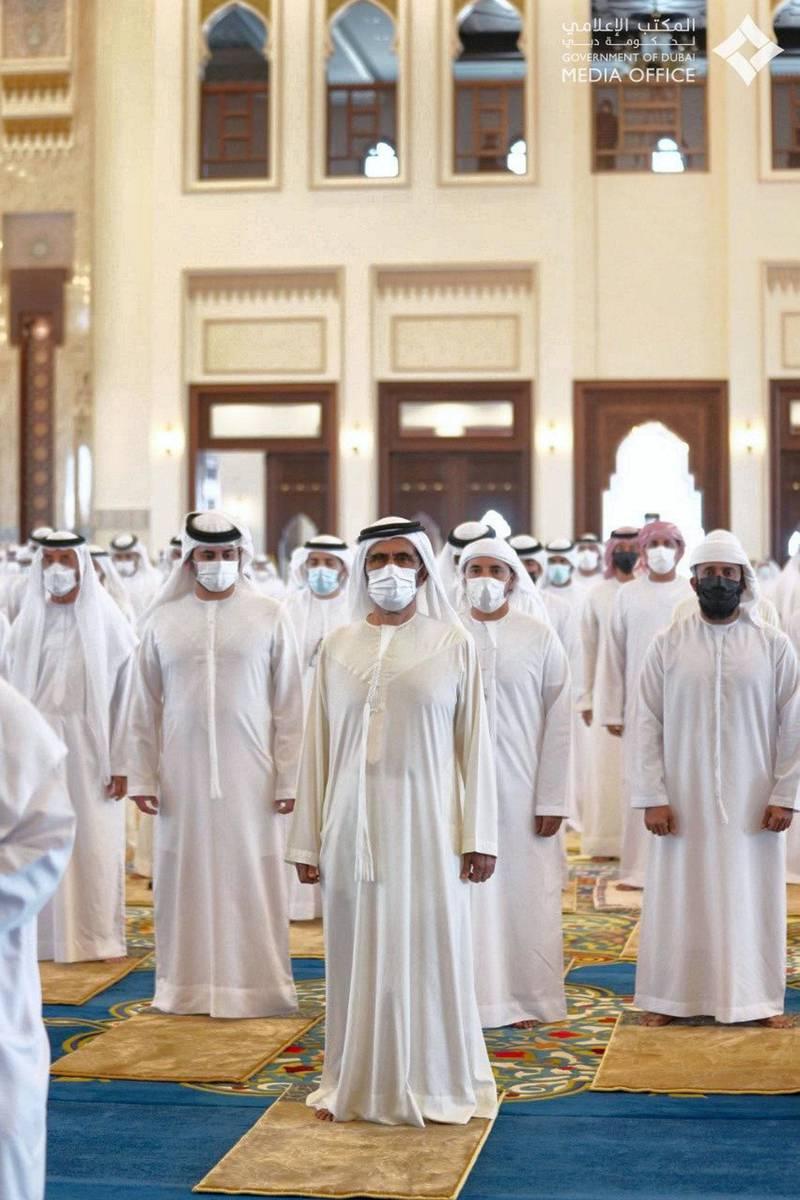 Sheikh Mohammed bin Rashid, Hamdan bin Mohammed and  Maktoum Bin Mohammed perform funeral prayers for the late Sheikh Hamdan bin Rashid Al Maktoum, joined by several Sheikhs of the Al Maktoum family at Zabeel Mosque. Dubai Media Office