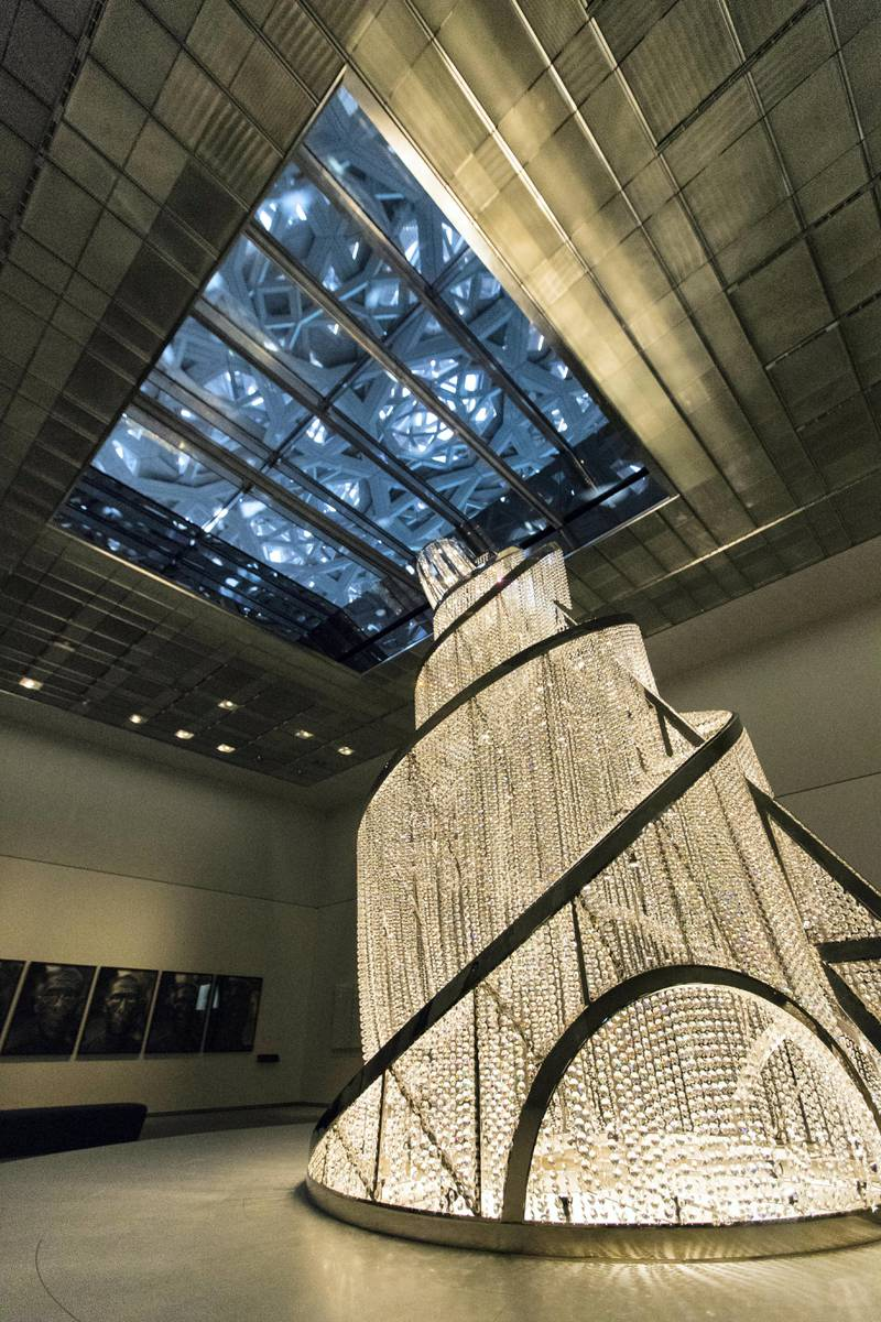 Abu Dhabi, United Arab Emirates, November 6, 2017:     Fountain of Light by Ai Weiwei  General view of the Louvre Abu Dhabi during the media tour ahead of opening day on Saadiyat Island in Abu Dhabi on November 6, 2017. The Louvre Abu Dhabi will open November 11th. Christopher Pike / The National  Reporter: Mina Aldroubi Section: News
