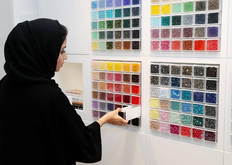Dubai, United Arab Emirates - August 23rd, 2017: Emirati fashion designer Yasmin Al Mulla using the facilities at the soon-to-be-opened Swarovski Creative Center. Wednesday, August 23rd, 2017 at The Design District, Dubai. Chris Whiteoak / The National
