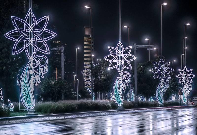 Abu Dhabi, United Arab Emirates, April 15, 2020.  The newly installed Ramadan lights on the Corniche during the rains.Victor Besa / The NationalSection:  NAFor:  Standalone/Stock Images