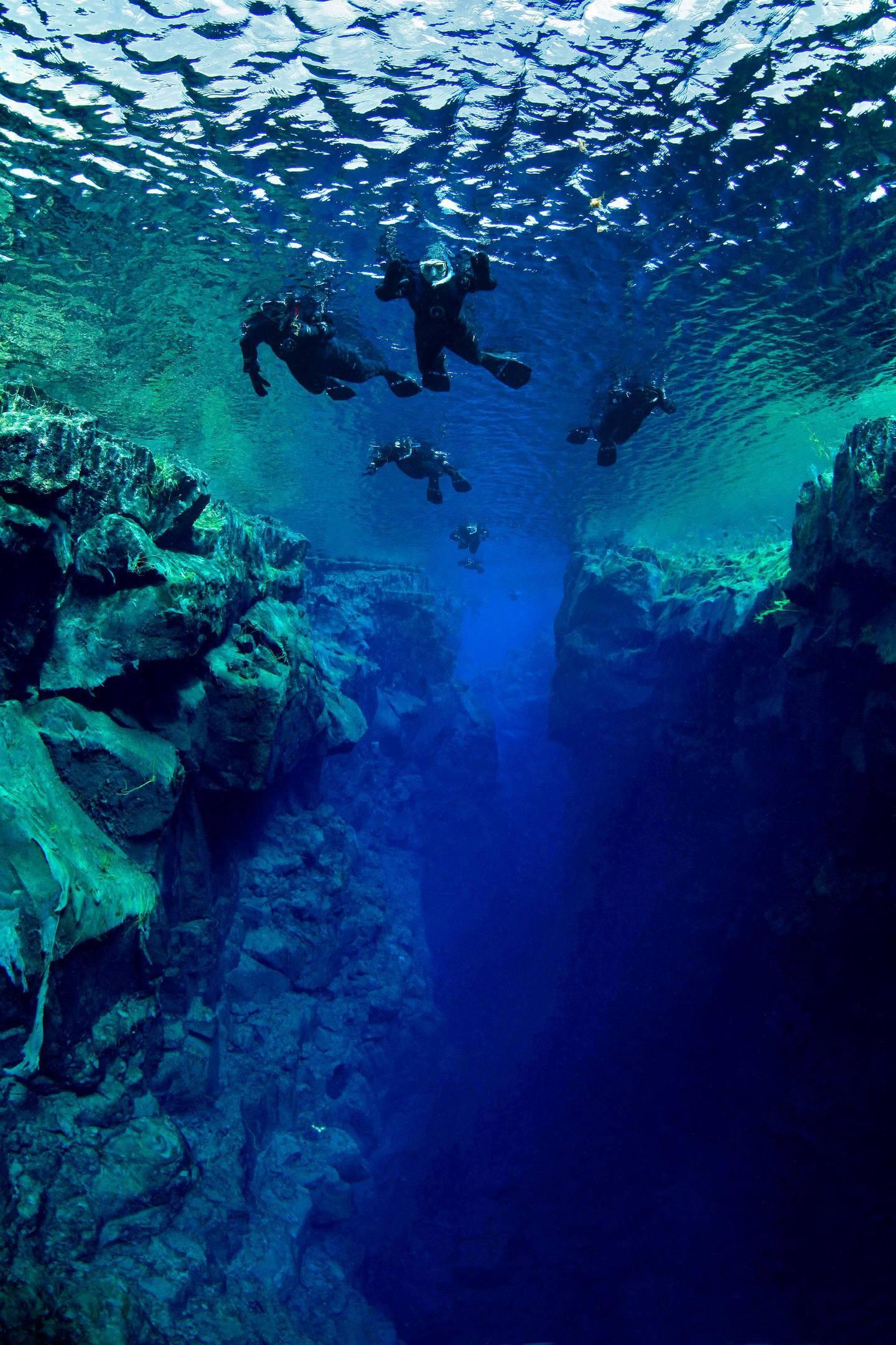 Snorklers in the continental crack of Silfra, freshwater, Iceland, Atlantic Ocean. Photo by Tobias FriedrichSchnorchler in der Kontinentalspalte Silfra, Süßwasser, Island, Atlantischer Ozean.