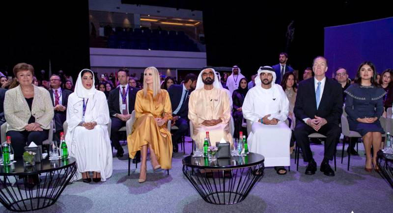 Mohammed bin Rashid, accompanied by Hamdan bin Mohammed and IIvanka Trump, daughter and advisor to the President of the United States Donald Trump, while attending the official opening of the Women's forum , which is organized by the Dubai Women's Foundation. courtsey: Dubai Media office twitter account