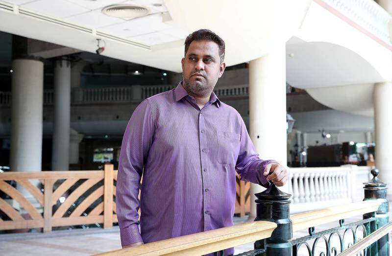 DUBAI , UNITED ARAB EMIRATES , JUNE 28 – 2018 :- Shoeb Iraqi from India at the Musalla tower in Dubai. He was working at one of the construction company and now has to pay blood money after one of his colleague died at the workplace in Dubai. ( Pawan Singh / The National )  For News. Story by Shareena