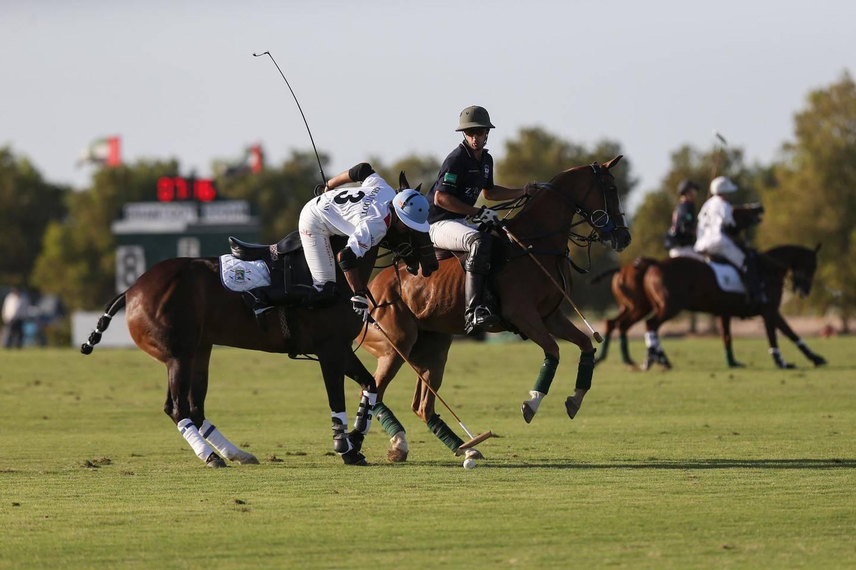 DUBAI, UAE. January 14, 2015 -   Zedan defeated Ghantoot 11-10 during a semi final match of the President of UAE Polo Cup 2015 at Ghantoot Racing and Polo Cup in Dubai, January 14, 2015. (Photos by: Sarah Dea/The National, Story by: Amith Passela, Sport) *** Local Caption ***  SDEA140115-polo_match104.JPG