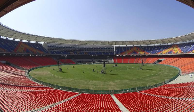 An interior view of the Sardar Patel Stadium is pictured in Motera, on the outskirts of Ahmedabad, on February 21, 2020. - US President Donald Trump will open the world's biggest cricket stadium in India next week, but critics wonder whether it's just another vanity project by Prime Minister Narendra Modi in his home state. (Photo by SAM PANTHAKY / AFP)