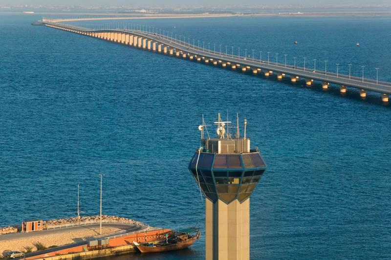 View from observation tower in Bahrain. Causeway links Bahrain and Saudia Arabia. Getty Images