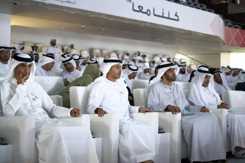 ABU DHABI, UNITED ARAB EMIRATES - March 21, 2019:  (L-R) HE Dr Thani Al Zeyoudi, UAE Minister for Climate Change and Environment, HE Dr Ahmed Abdullah Humaid Belhoul Al Falasi, UAE Minister of State for Higher Education, HE Dr Sultan Ahmed Al Jaber, UAE Minister of State, Chairman of Masdar and CEO of ADNOC Group and HE Ahmed Juma Al Zaabi, UAE Deputy Minister of Presidential Affairs, attend the closing ceremony of the Special Olympics World Games Abu Dhabi 2019, at Zayed Sports City.  ( Ryan Carter for the Ministry of Presidential Affairs ) ---