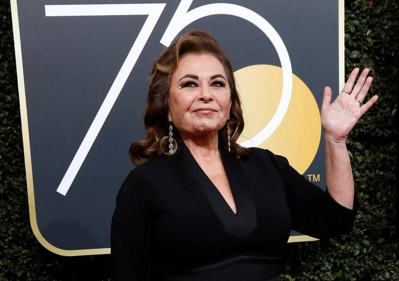 FILE PHOTO: Actress Roseanne Barr waves on her arrival to the 75th Golden Globe Awards in Beverly Hills, California, U.S., January 7, 2018. REUTERS/Mario Anzuoni/File Photo