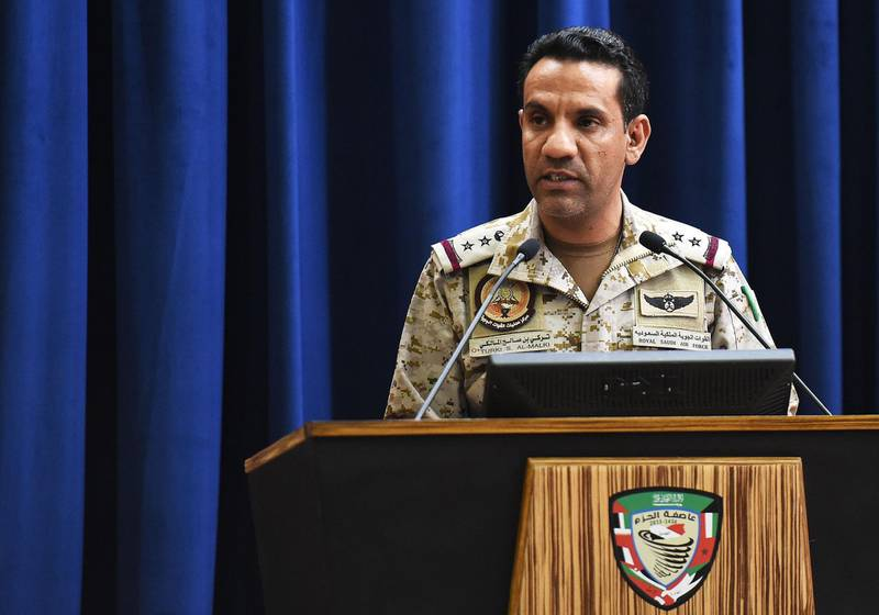 The spokesman of a Saudi-led military coalition Turki Al-Malki gives a press conference at the Armed Forces club in Riyadh on March 26, 2018. A military coalition led by Saudi Arabia threatened retaliation against Iran, accusing the Shiite power of being behind multiple Yemeni rebel missile attacks on the kingdom. / AFP PHOTO / FAYEZ NURELDINE