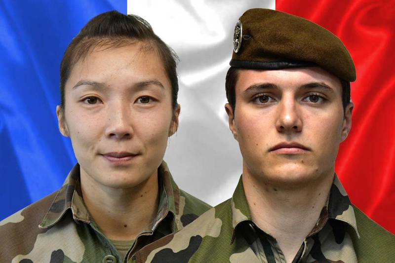 """A combination released on January 3, 2021 by the press office of the French army (Sirpa) shows sergeant Yvonne Huynh (L) and Brigadier Loic Risser, the two French soldiers killed by an improvised explosive device in northeastern Mali on January 3, 2021. Two French soldiers were killed just days on January 3, 2021, after three others died in similar fashion, the French presidency announced. - RESTRICTED TO EDITORIAL USE - MANDATORY CREDIT """"AFP PHOTO /SIRPA """" - NO MARKETING - NO ADVERTISING CAMPAIGNS - DISTRIBUTED AS A SERVICE TO CLIENTS  / AFP / SIRPA / - / RESTRICTED TO EDITORIAL USE - MANDATORY CREDIT """"AFP PHOTO /SIRPA """" - NO MARKETING - NO ADVERTISING CAMPAIGNS - DISTRIBUTED AS A SERVICE TO CLIENTS"""