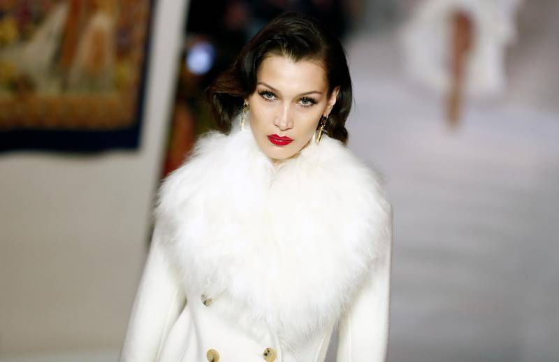 epa08248857 US model Bella Hadid presents a creation from the Fall-Winter 2020/21 women's collection by Lanvin fashion house during the Paris Fashion Week, in Paris, France, 26 February 2020. The Fall-Winter 2020/21 women's collection runs from 24 February to 03 March 2020.  EPA-EFE/IAN LANGSDON