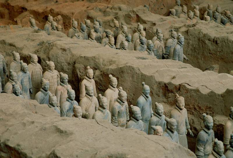 CHINA - JANUARY 01:  Figurines in the Museum of the Qin Terracotta Warriors, the mausoleum of Qin Shi Huang,emperor of China, Xian, Shaanxi Province, Northwest China discovered in 1974.  (Photo by Tim Graham/Getty Images)