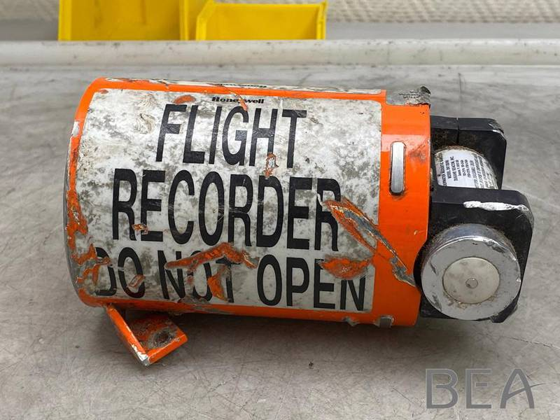 epa08556526 A handout photo made available by the French Aviation Authority BEA investigation bureau from their Twitter account shows the flight recorder from the Iranian missile-downed Ukraine International Airlines (UIA) Flight PS752 Boeing 737 jet, as work begins at the BEA investigation bureau in Le Bourget, France, 20 July 2020. Iran has sent to France the black box of the Ukrainian passenger plane, which was accidentally downed by Iranian armed forces on 08 January 2020 near Tehran, killing all 176 people aboard, after mistaking it for an incoming missile.  EPA/BEA / HANDOUT  HANDOUT EDITORIAL USE ONLY/NO SALES