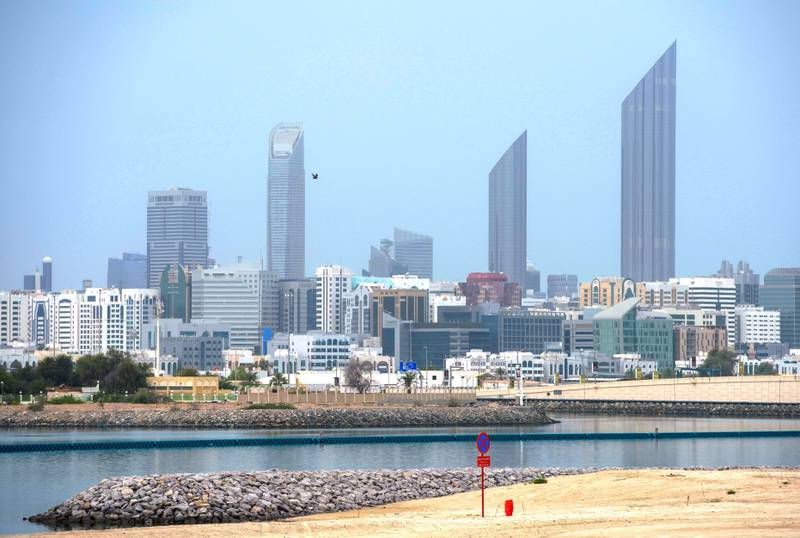 Abu Dhabi, United Arab Emirates, April 20, 2020.   Downtown Abu Dhabi shot from Al Reem Island on a hazy day.Victor Besa / The NationalSection:  NAFor:  Stock images