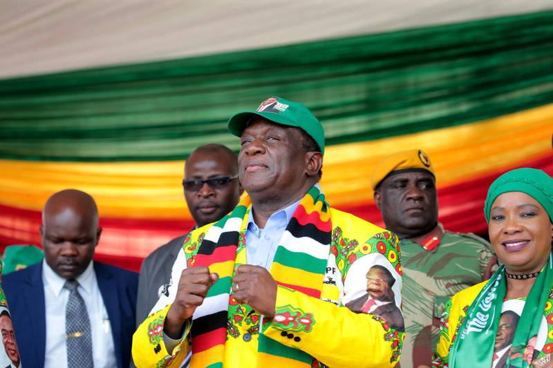 epa06750604 Zimbabwean President Emmerson Mnangagwa and leader of the ruling Zimbabwe African National Union Patriotic Front (Zanu PF) addresses a crowd at a campaign rally at Sakubva Stadium in Mutare about 260 km east of Harare,Zimbabwe, 19 May 2018. Mnangagwa who has promised a fair and free election said that an exact election date will be announced in two weeks.  EPA/AARON UFUMELI