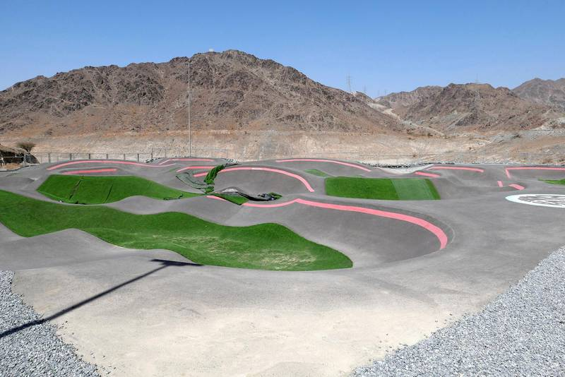 FUJAIRAH, UNITED ARAB EMIRATES , March 23, 2021 – View of the pump track at the Fujairah Adventures Park in Fujairah. (Pawan Singh / The National) For Instagram/Online/ Lifestyle. Story by Janice Rodrigues