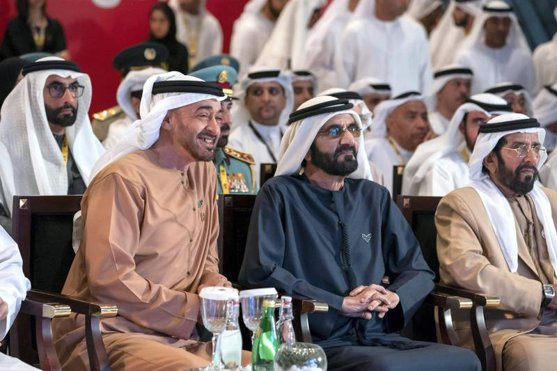 DUBAI, UNITED ARAB EMIRATES - January 29, 2020: HH Sheikh Mohamed bin Zayed Al Nahyan, Crown Prince of Abu Dhabi and Deputy Supreme Commander of the UAE Armed Forces (L) and HH Sheikh Mohamed bin Rashid Al Maktoum, Vice-President, Prime Minister of the UAE, Ruler of Dubai and Minister of Defence (R), witness the announcement of the fifth edition of Aqdar World Summit hosted by EXPO 2020 Dubai. Seen with HH Sheikh Tahnoon bin Mohamed Al Nahyan, Ruler's Representative in Al Ain Region (R) and HE Mohamed Ahmad Al Bowardi, UAE Minister of State for Defence Affairs (back L).  ( Mohamed Al Hammadi / Ministry of Presidential Affairs ) ---