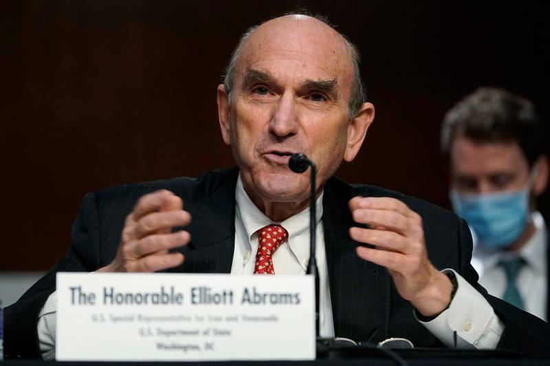 US Special Representative for Iran and Venezuela, Elliott Abrams, testifies during a Senate Committee on Foreign Relations hearing on US Policy in the Middle East on Capitol Hill in Washington, DC on September 24, 2020. (Photo by Susan Walsh / POOL / AFP)
