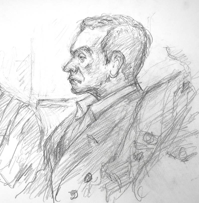 """This courtroom sketch illustrated by Masato Yamashita depicts former Nissan chairman Carlos Ghosn attending his hearing at the Tokyo district court on January 8, 2019. - Former Nissan boss Carlos Ghosn said on January 8 he had been """"wrongly accused and unfairly detained"""" at a high-profile court hearing in Japan, his first appearance since his arrest in November rocked the business world. (Photo by JIJI PRESS / JIJI PRESS / AFP) / Japan OUT"""