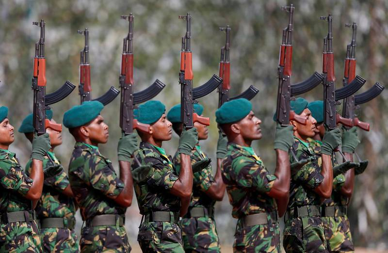 Sri Lanka's Special Task Force (STF) members march during the 35th anniversary in Kalutara, Sri Lanka February 27, 2018.Picture taken February 27, 2018. REUTERS/Dinuka Liyanawatte     TPX IMAGES OF THE DAY