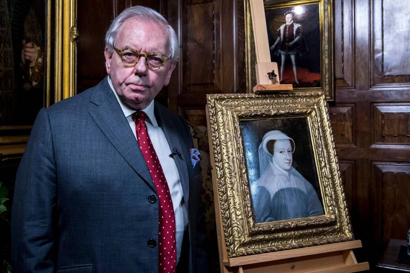 Mandatory Credit: Photo by Simon Ford/Shutterstock (10099432a) Exremely rare painting of Mary Queen of Scots is unveiled for public display at Hever Castle by Tudor expert Dr David Starkey Unveiling of rare painting of Mary Queen of Scots at Hever Castle, Kent, UK - 07 Feb 2019 Exremely rare painting of Mary Queen of Scots is unveiled for public display at Hever Castle, 432 Years after date of her death. The painting was only recently found in France and has never been seen by the public before.