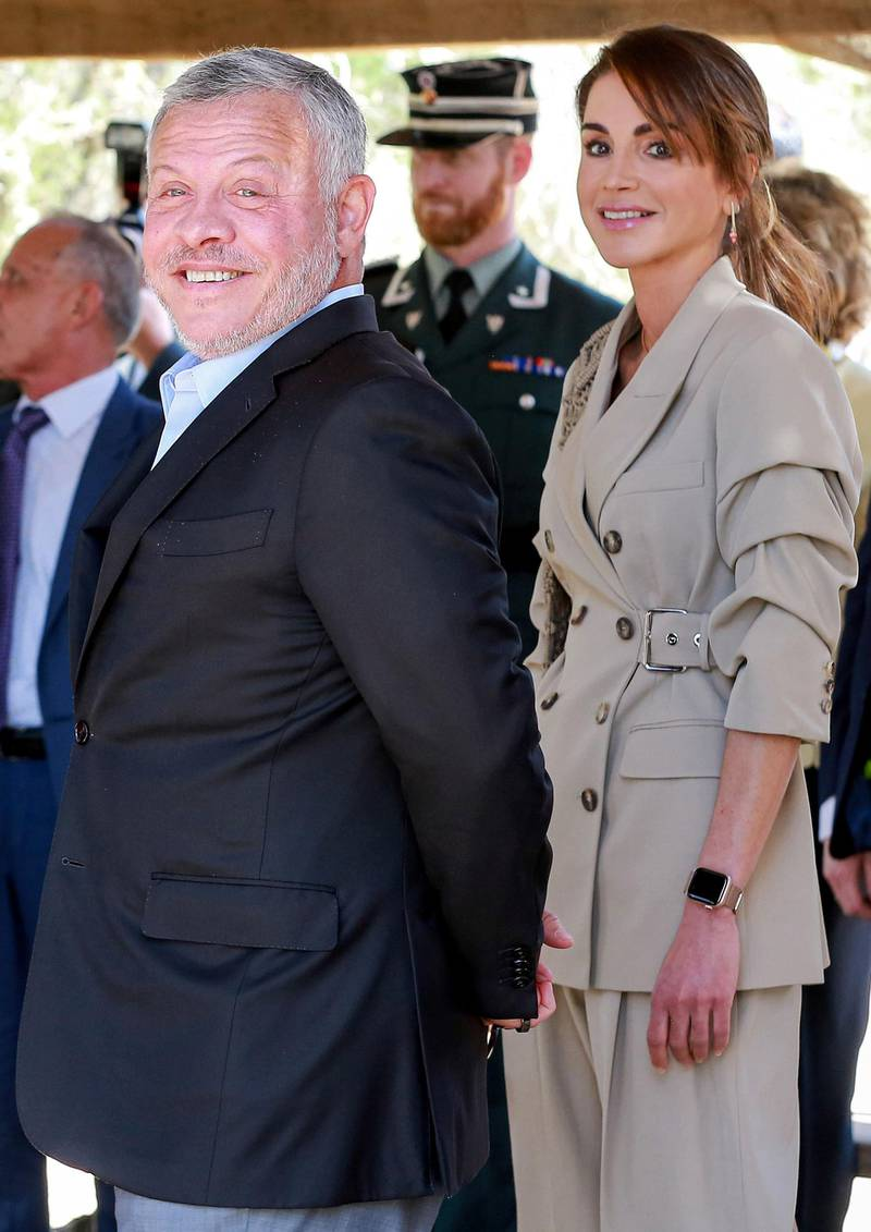 (L to R) King Abdullah II of Jordan and his wife Queen Rania accompany the King and Queen of Norway on a visit to the baptism site of al-Maghtas, where Jesus is believed by Christians to have been baptised by John the Baptist, on the Jordan river on March 2, 2020.  / AFP / Khalil MAZRAAWI