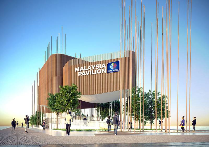 The wooden poles at the Malaysia pavilion represent the trees of the rainforest and  will be lit up at night to represent the fireflies in mangroves found in certain areas of the country.  Courtesy: Malaysia Pavilion EXPO 2020 Dubai