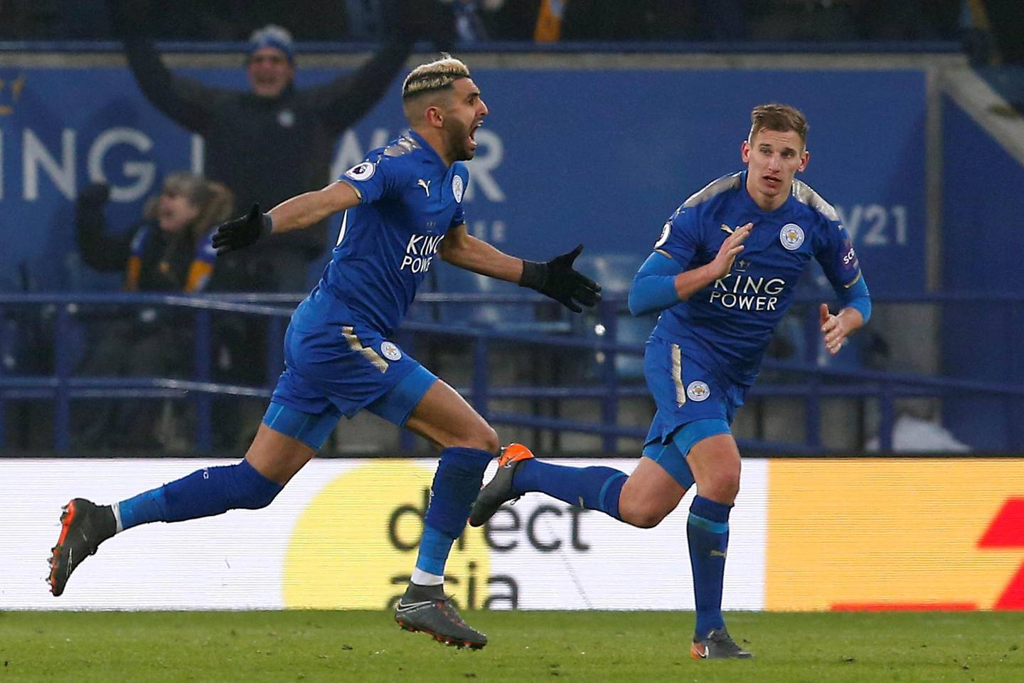 """Soccer Football - Premier League - Leicester City vs AFC Bournemouth - King Power Stadium, Leicester, Britain - March 3, 2018   Leicester City's Riyad Mahrez celebrates scoring their first goal from a freekick    Action Images via Reuters/Craig Brough    EDITORIAL USE ONLY. No use with unauthorized audio, video, data, fixture lists, club/league logos or """"live"""" services. Online in-match use limited to 75 images, no video emulation. No use in betting, games or single club/league/player publications.  Please contact your account representative for further details."""