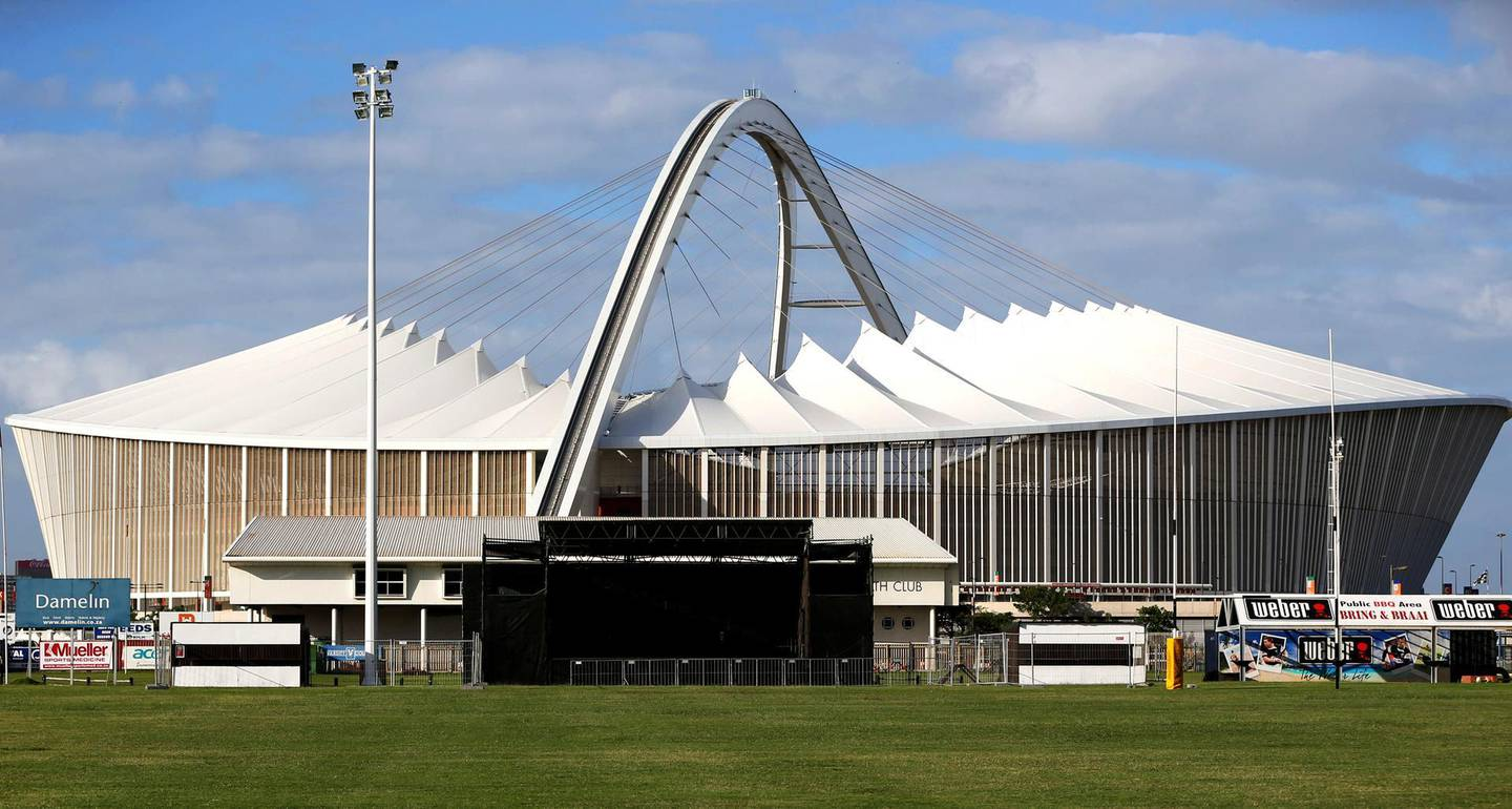 DURBAN, SOUTH AFRICA - APRIL 05: A general view of the Moses Mabhida stadium prior to the Super Rugby match between The Sharks and Crusaders at Kings Park on April 05, 2013 in Durban, South Africa.  (Photo by Steve Haag/Gallo Images/Getty Images)