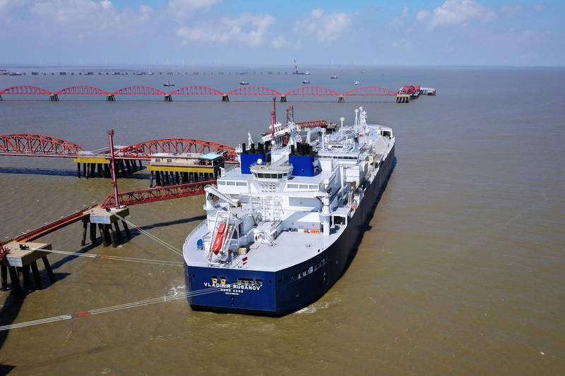A vessel carrying liquefied natural gas (LNG) cargo from Russia's Yamal LNG project, is seen at Rudong LNG Terminal in Nantong, Jiangsu province, China July 18, 2018. Picture taken July 18, 2018.  REUTERS/Stringer ATTENTION EDITORS - THIS IMAGE WAS PROVIDED BY A THIRD PARTY. CHINA OUT.