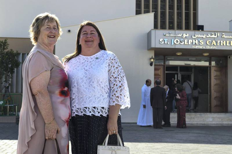 Abu Dhabi, United Arab Emirates - Left, Hannah Robb and Imelda Popplewell met the Pope in the morning at St. JosephÕs Cathedral on February 5, 2019. Khushnum Bhandari for The National