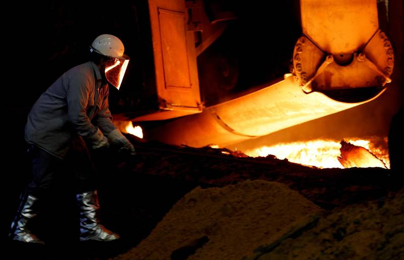 epa06214827 (FILE) - A steel worker works at blast furnace 8 of German corporation ThyssenKrupp in Duisburg, Germany, 07 April 2017. (reissued 20 September 2017). Thyssenkrupp and Indian company Tata Steel announced  the merger of their steel operations in Europe on 20 September 2017.  EPA/FRIEDEMANN VOGEL