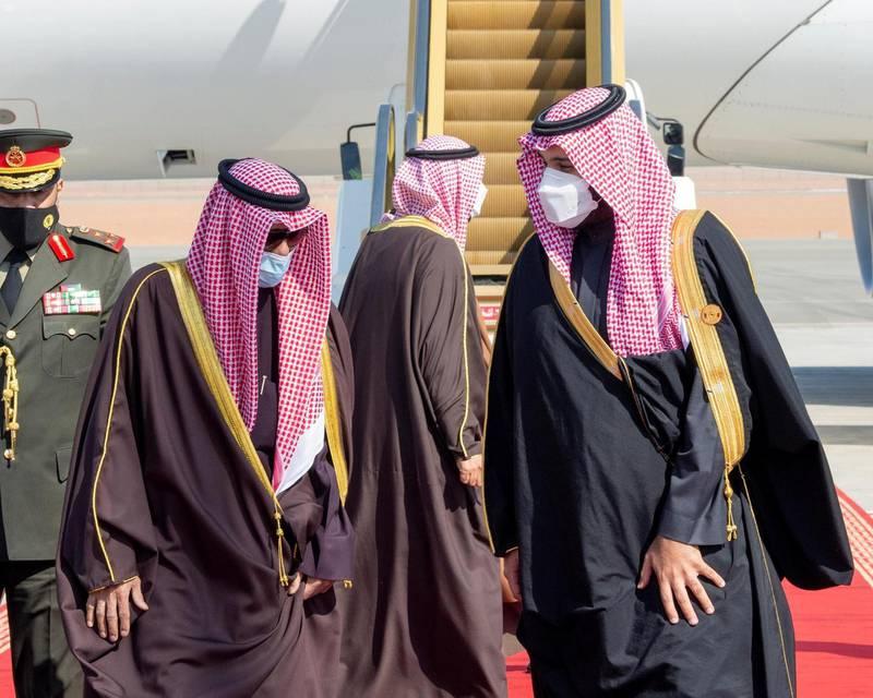 Saudi Crown Prince Mohammed bin Salman welcomes Emir Sheikh Nawaf Al Sabah of Kuwait. SPA