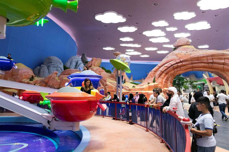 ABU DHABI, UNITED ARAB EMIRATES - JULY 24, 2018. The Jetsons Cosmic Orbiter ride at Dynamite Gulch land in Warner Bros World Abu Dhabi.Almost 15,000 tickets for Warner Bros World Abu Dhabi have been sold ahead of opening to the public on Wednesday.(Photo by Reem Mohammed/The National)Reporter: Section: NA + AL