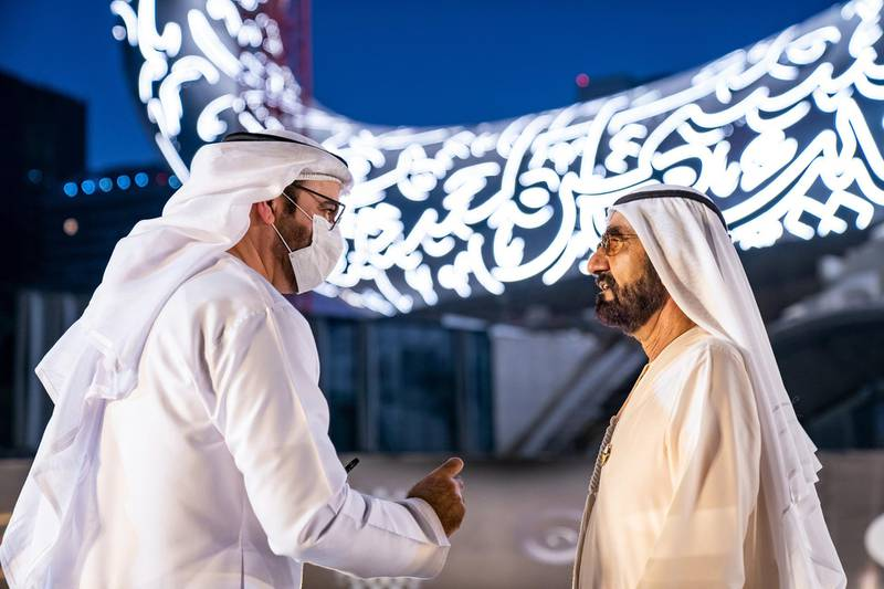 Sheikh Mohammed Bin Rashid, Vice-President and Prime Minister of the UAE and Ruler of Dubai, witnesses the installation of the final piece of façade of Museum of the Future. Seen with Mohammad bin Abdullah Al Gergawi, Cabinet Member, Minister of Cabinet Affairs, and Vice Chairman of the Board of Trustees of Dubai Future Foundation. Courtesy Museum of the Future